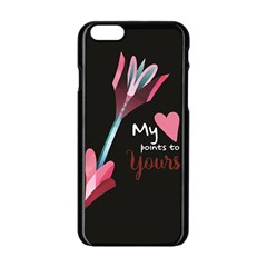 My Heart Points To Yours / Pink And Blue Cupid s Arrows (black) Apple Iphone 6/6s Black Enamel Case by FashionFling