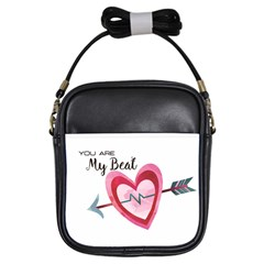 You Are My Beat / Pink And Teal Hearts Pattern (white)  Girls Sling Bags by FashionFling