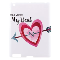 You Are My Beat / Pink And Teal Hearts Pattern (white)  Apple Ipad 3/4 Hardshell Case by FashionFling