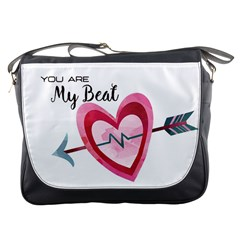You Are My Beat / Pink And Teal Hearts Pattern (white)  Messenger Bags by FashionFling