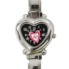 You Are My Beat / Pink And Teal Hearts Pattern (black)  Heart Italian Charm Watch by FashionFling