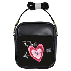 You Are My Beat / Pink And Teal Hearts Pattern (black)  Girls Sling Bags by FashionFling