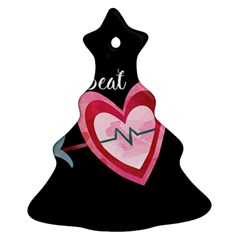 You Are My Beat / Pink And Teal Hearts Pattern (black)  Ornament (christmas Tree)  by FashionFling