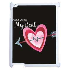 You Are My Beat / Pink And Teal Hearts Pattern (black)  Apple iPad 2 Case (White) by FashionFling