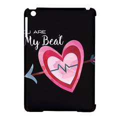 You Are My Beat / Pink And Teal Hearts Pattern (black)  Apple Ipad Mini Hardshell Case (compatible With Smart Cover) by FashionFling