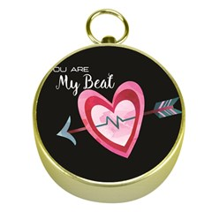 You Are My Beat / Pink And Teal Hearts Pattern (black)  Gold Compasses by FashionFling