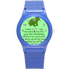 Little Frog Poem Round Plastic Sport Watch (s) by athenastemple