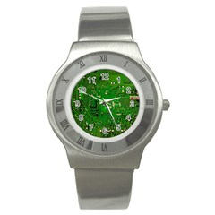 Circuit Board Stainless Steel Watch by Nexatart