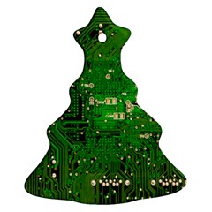 Circuit Board Christmas Tree Ornament (two Sides) by Nexatart