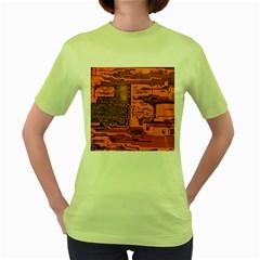 Circuit Women s Green T Shirt by Nexatart
