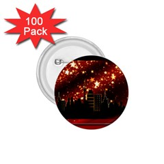 City Silhouette Christmas Star 1.75  Buttons (100 pack)