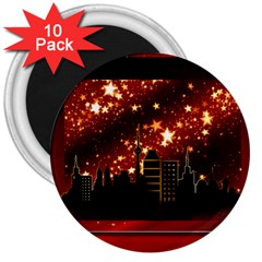 City Silhouette Christmas Star 3  Magnets (10 Pack)  by Nexatart