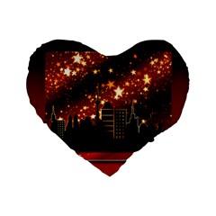 City Silhouette Christmas Star Standard 16  Premium Flano Heart Shape Cushions by Nexatart