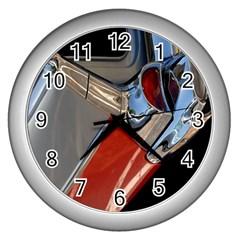 Classic Car Design Vintage Restored Wall Clocks (silver)  by Nexatart