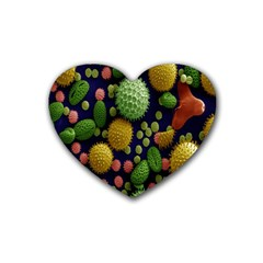 Colorized Pollen Macro View Heart Coaster (4 Pack)  by Nexatart