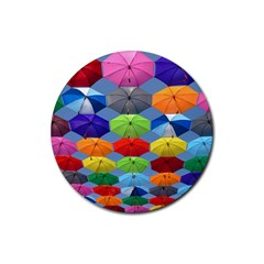Color Umbrella Blue Sky Red Pink Grey And Green Folding Umbrella Painting Rubber Round Coaster (4 Pack)  by Nexatart