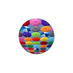 Color Umbrella Blue Sky Red Pink Grey And Green Folding Umbrella Painting Golf Ball Marker (4 Pack) by Nexatart