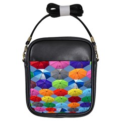 Color Umbrella Blue Sky Red Pink Grey And Green Folding Umbrella Painting Girls Sling Bags by Nexatart