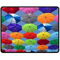 Color Umbrella Blue Sky Red Pink Grey And Green Folding Umbrella Painting Fleece Blanket (medium)  by Nexatart