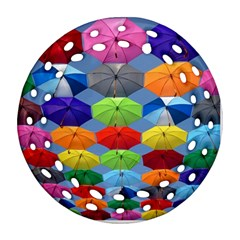 Color Umbrella Blue Sky Red Pink Grey And Green Folding Umbrella Painting Ornament (round Filigree) by Nexatart