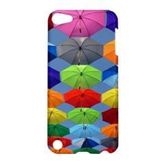 Color Umbrella Blue Sky Red Pink Grey And Green Folding Umbrella Painting Apple Ipod Touch 5 Hardshell Case by Nexatart