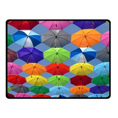 Color Umbrella Blue Sky Red Pink Grey And Green Folding Umbrella Painting Double Sided Fleece Blanket (small)  by Nexatart