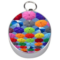 Color Umbrella Blue Sky Red Pink Grey And Green Folding Umbrella Painting Silver Compasses by Nexatart