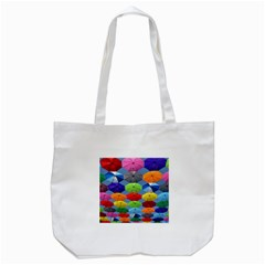 Color Umbrella Blue Sky Red Pink Grey And Green Folding Umbrella Painting Tote Bag (white) by Nexatart