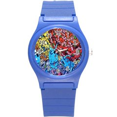 Colorful Graffiti Art Round Plastic Sport Watch (s) by Nexatart