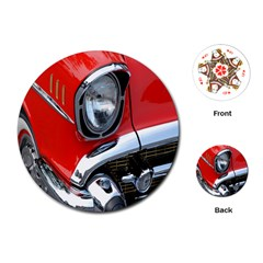 Classic Car Red Automobiles Playing Cards (round)  by Nexatart