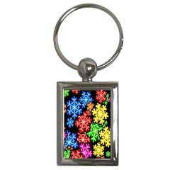 Colourful Snowflake Wallpaper Pattern Key Chains (rectangle)  by Nexatart