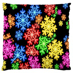 Colourful Snowflake Wallpaper Pattern Large Flano Cushion Case (one Side) by Nexatart