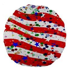 Confetti Star Parade Usa Lines Large 18  Premium Round Cushions