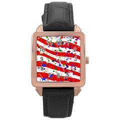 Confetti Star Parade Usa Lines Rose Gold Leather Watch  by Nexatart