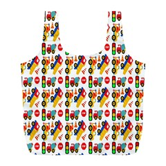 Construction Pattern Background Full Print Recycle Bags (l)  by Nexatart