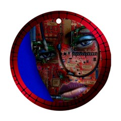Display Dummy Binary Board Digital Ornament (Round)