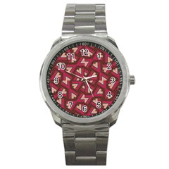 Digital Raspberry Pink Colorful Sport Metal Watch by Nexatart