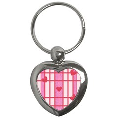 Fabric Magenta Texture Textile Love Hearth Key Chains (heart)  by Nexatart