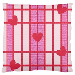 Fabric Magenta Texture Textile Love Hearth Large Cushion Case (two Sides) by Nexatart
