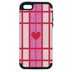 Fabric Magenta Texture Textile Love Hearth Apple Iphone 5 Hardshell Case (pc+silicone) by Nexatart