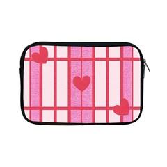 Fabric Magenta Texture Textile Love Hearth Apple Ipad Mini Zipper Cases by Nexatart