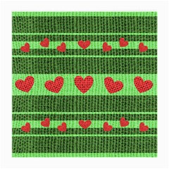 Fabric Christmas Hearts Texture Medium Glasses Cloth (2-Side)