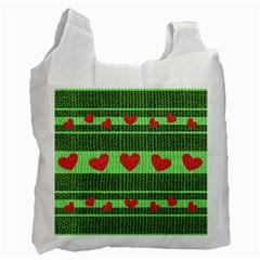Fabric Christmas Hearts Texture Recycle Bag (One Side) by Nexatart