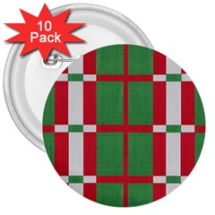 Fabric Green Grey Red Pattern 3  Buttons (10 Pack)  by Nexatart