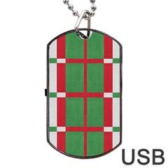 Fabric Green Grey Red Pattern Dog Tag USB Flash (Two Sides)