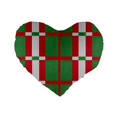 Fabric Green Grey Red Pattern Standard 16  Premium Flano Heart Shape Cushions by Nexatart