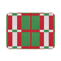 Fabric Green Grey Red Pattern Double Sided Flano Blanket (mini)