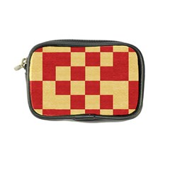 Fabric Geometric Red Gold Block Coin Purse by Nexatart