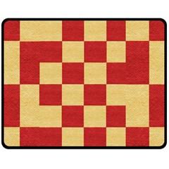 Fabric Geometric Red Gold Block Fleece Blanket (medium)  by Nexatart