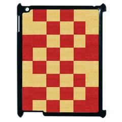 Fabric Geometric Red Gold Block Apple Ipad 2 Case (black) by Nexatart